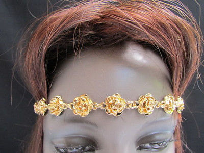 New Women Multi Gold Flowers Leaves Metal Trendy Elastic Black Head Chain Fashion Jewelry Hair Accessories Beach Paty - alwaystyle4you - 3