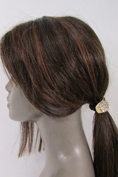 New Women Gold Rhinestons Fashion Metal Head Ponytail  Jewelry Hair Accessories Wedding - alwaystyle4you - 2