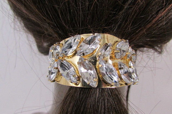 New Women Gold Rhinestons Fashion Metal Head Ponytail  Jewelry Hair Accessories Wedding - alwaystyle4you - 3