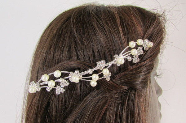 New Women Silver Rhinestones Flower Fashion Metal Head Pin Fashion Jewelry Hair Accessories - alwaystyle4you - 1
