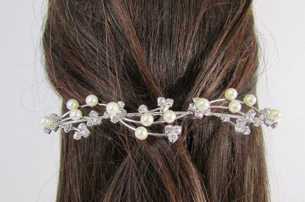 New Women Silver Rhinestones Flower Fashion Metal Head Pin Fashion Jewelry Hair Accessories - alwaystyle4you - 5