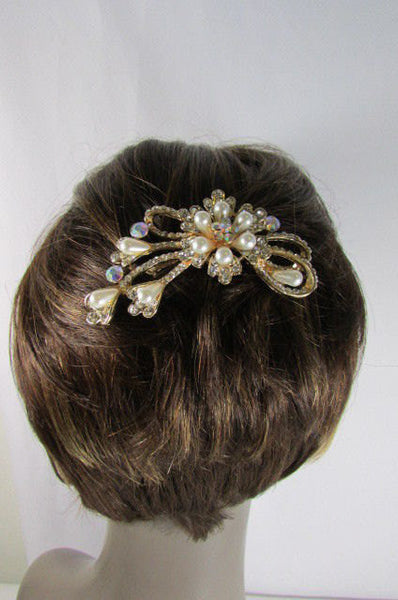 New Women Gold With Silver Flower Rhinestones Fashion Metal Head Pin Fashion Jewelry Hair Accessories - alwaystyle4you - 1