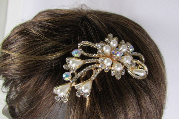 New Women Gold With Silver Flower Rhinestones Fashion Metal Head Pin Fashion Jewelry Hair Accessories - alwaystyle4you - 4