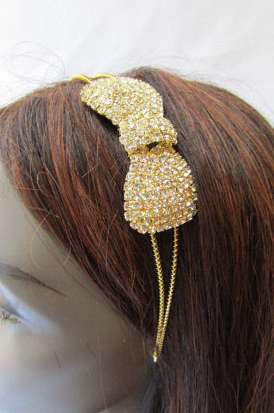 Gold Metal Headband Hair Big Bow Rhinestones New Women Fashion Wedding Accessories