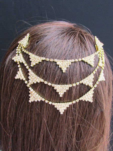 New Trendy Women Gold Fashion Metal Head Multi Triangle  Jewelry Hair Accessories Beach Party - alwaystyle4you - 2