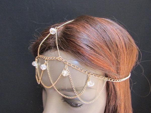 One Size Brand New Women Gold Multi Clear Beads Metal Waves Head Chain Fashion Hair Piece Trendy Style Jewelry Rhinestone Light Thin Chains - alwaystyle4you - 2