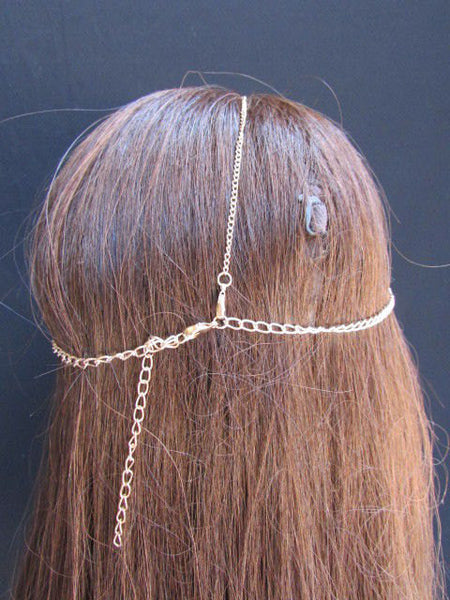 One Size Brand New Women Gold Multi Clear Beads Metal Waves Head Chain Fashion Hair Piece Trendy Style Jewelry Rhinestone Light Thin Chains - alwaystyle4you - 3