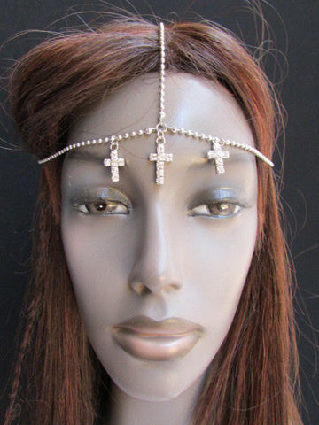 One Size Brand New Women Silver Cross Metal Wave Head Chain Fashion Hair Piece Jewelry Rhinestone - alwaystyle4you - 1