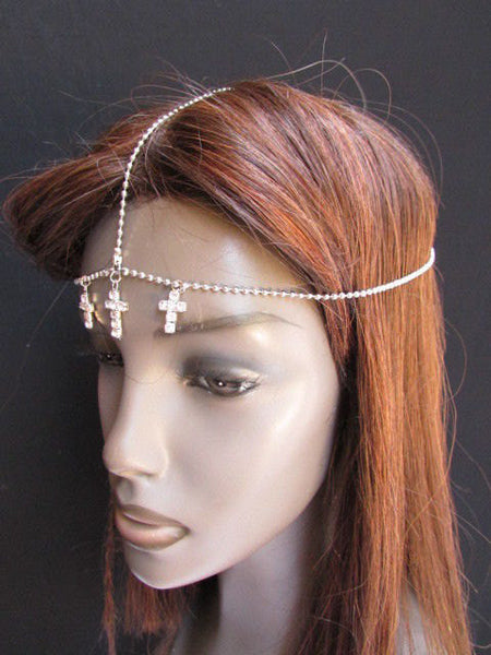 One Size Brand New Women Silver Cross Metal Wave Head Chain Fashion Hair Piece Jewelry Rhinestone - alwaystyle4you - 3