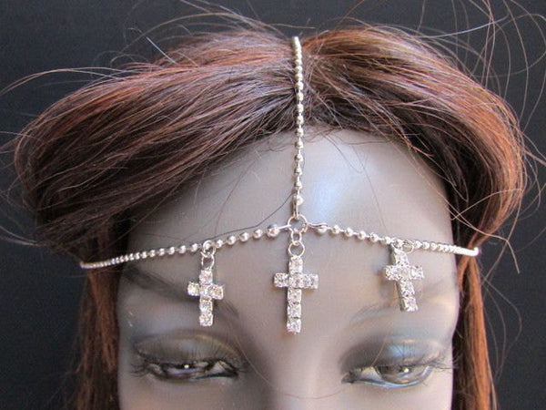 One Size Brand New Women Silver Cross Metal Wave Head Chain Fashion Hair Piece Jewelry Rhinestone - alwaystyle4you - 4