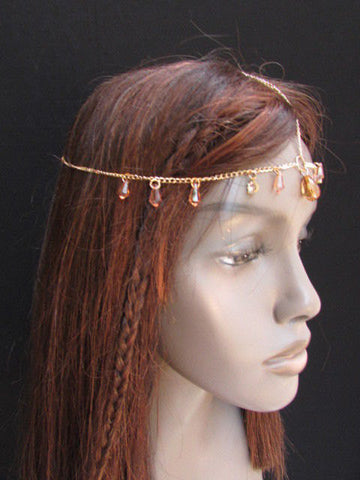 One Size Brand New Women Gold Metal Head Chain Fashion Hair Piece Jewelry Wedding Party Beach - alwaystyle4you - 1