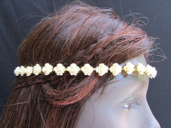 One Size Brand New Women Elastic Head Chain Cream Flowers Fashion Hair Piece Jewelry Party Beach - alwaystyle4you - 2