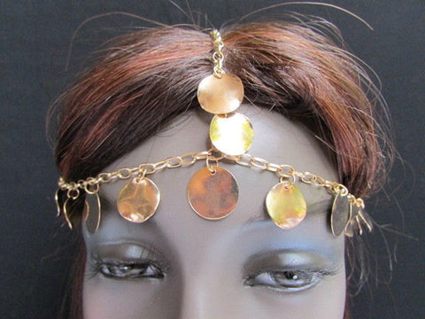 New Gold Women Fashion Multi Circlet Coin Bead Metal Head Chain Forehead Fashion Jewelry Hair Accessories - alwaystyle4you - 1