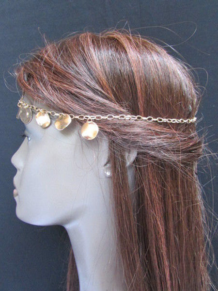 New Gold Women Fashion Multi Circlet Coin Bead Metal Head Chain Forehead Fashion Jewelry Hair Accessories - alwaystyle4you - 5