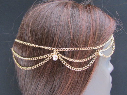 New Rhinestone Gold Women Fashion Metal Multi Drapes Head Band Forehead Jewelry Hair Accessories Wedding - alwaystyle4you - 3