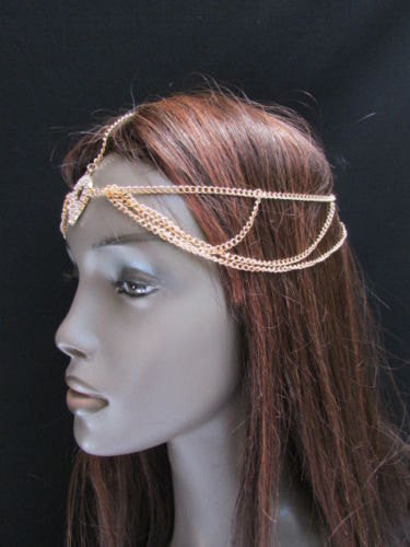 Brand New Rhinestone Gold Women Fashion Metal Multi Drapes Head Band Forehead Jewelry Hair Accessories Wedding Beach Party - alwaystyle4you - 2