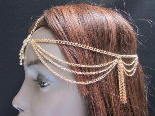 Brand New Rhinestone Gold Women Fashion Triangle Metal Multi Drapes Head Band Forehead Jewelry Hair Accessories Wedding Beach Party - alwaystyle4you - 4