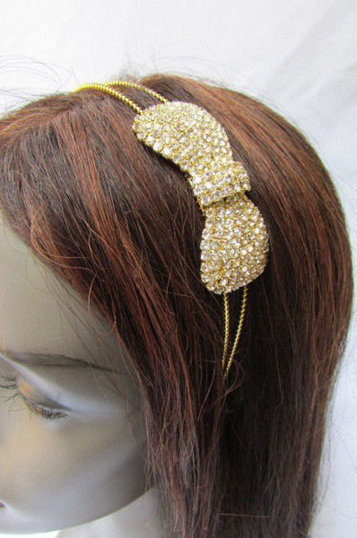 New Trendy Women Gold Metal Chain Rhinestones Headband Fashion Jewelry Hair Accessories Wedding - alwaystyle4you - 3