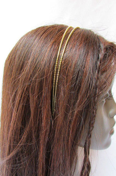 New Trendy Women Gold Metal Chain Rhinestones Headband Fashion Jewelry Hair Accessories Wedding - alwaystyle4you - 5
