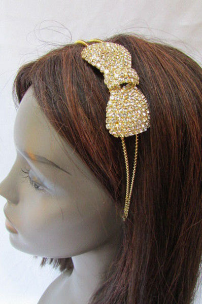 New Trendy Women Gold Metal Chain Rhinestones Headband Fashion Jewelry Hair Accessories Wedding - alwaystyle4you - 2