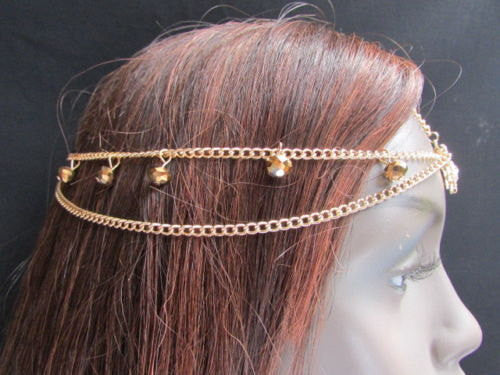 New Women Heart Gold Rhinestonefashion Beads Metal Multi Drapes Head Band Forehead Jewelry Hair Accessories Wedding Beach Party - alwaystyle4you - 5