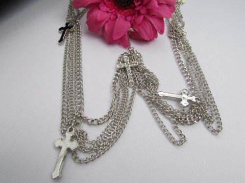 One Size Brand New Women Silver Cross Metal Head Chain Fashion Hair Piece Jewelry Wedding Party Beach - alwaystyle4you - 2