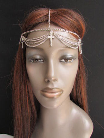 One Size Brand New Women Silver Cross Metal Head Chain Fashion Hair Piece Jewelry Wedding Party Beach - alwaystyle4you - 4