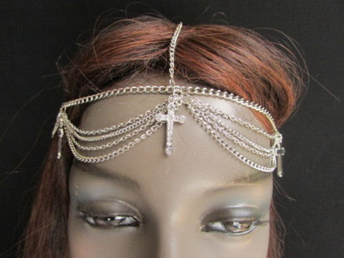 One Size Brand New Women Silver Cross Metal Head Chain Fashion Hair Piece Jewelry Wedding Party Beach - alwaystyle4you - 3