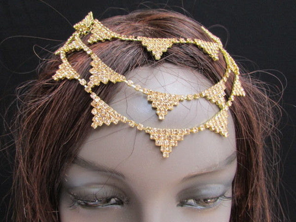 New Trendy Women Gold Fashion Metal Head Multi Triangle  Jewelry Hair Accessories Beach Party - alwaystyle4you - 1