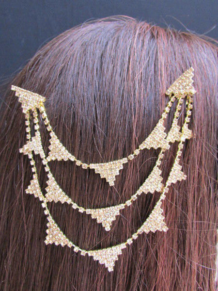 New Trendy Women Gold Fashion Metal Head Multi Triangle  Jewelry Hair Accessories Beach Party - alwaystyle4you - 4