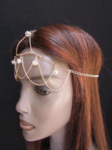 One Size Brand New Women Gold Multi Clear Beads Metal Waves Head Chain Fashion Hair Piece Trendy Style Jewelry Rhinestone Light Thin Chains - alwaystyle4you - 5