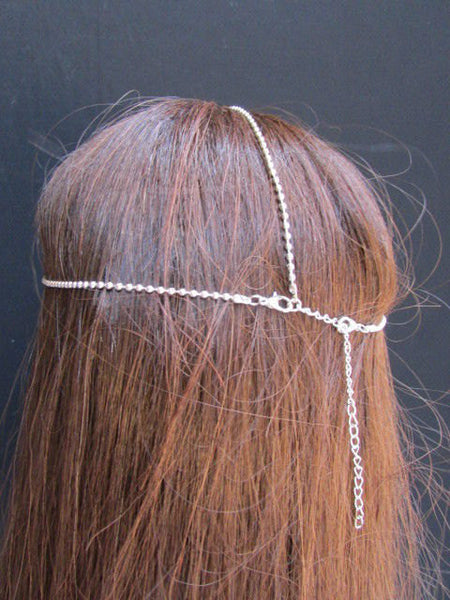 One Size Brand New Women Silver Cross Metal Wave Head Chain Fashion Hair Piece Jewelry Rhinestone - alwaystyle4you - 5