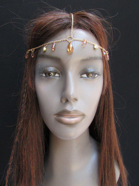 One Size Brand New Women Gold Metal Head Chain Fashion Hair Piece Jewelry Wedding Party Beach - alwaystyle4you - 4