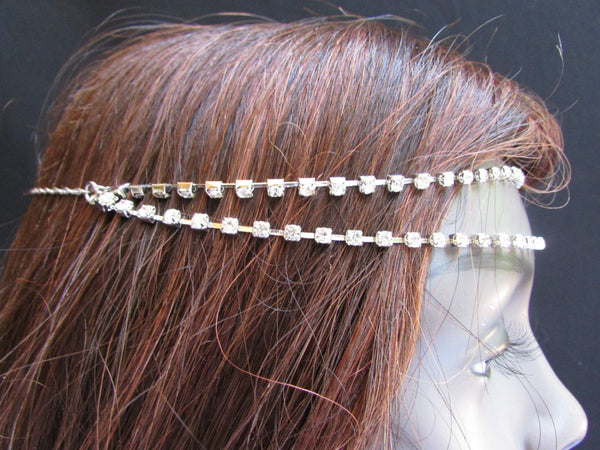Brand New One Size Brand New Women Silver Metal Head Chain Rhinestones Fashion Hair Piece Jewelry Wedding Party Beach - alwaystyle4you - 3