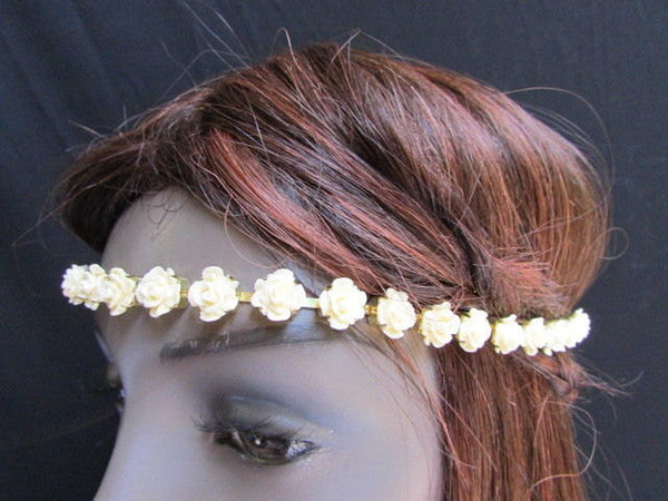 Gold Head Elastic Band Chain Cream Multi Flowers New Women Fashion Hair Piece Jewelry Accessories