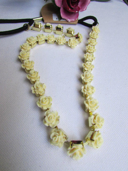 One Size Brand New Women Elastic Head Chain Cream Flowers Fashion Hair Piece Jewelry Party Beach - alwaystyle4you - 3