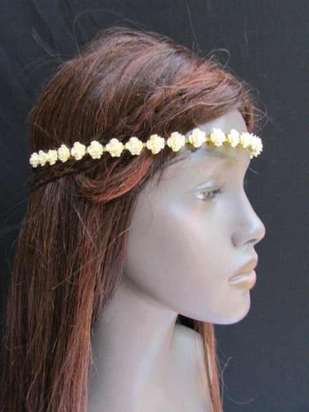 One Size Brand New Women Elastic Head Chain Cream Flowers Fashion Hair Piece Jewelry Party Beach - alwaystyle4you - 5