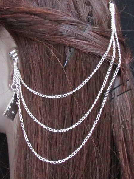 New Rhinestone Silver Cassette Women Fashion Metal Multi French Drapes Jewelry Hair Pin Accessories Wedding - alwaystyle4you - 3
