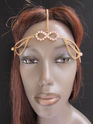 New Rhinestone Gold Women Fashion Metal Multi Drapes Head Band Forehead Jewelry Hair Accessories Wedding - alwaystyle4you - 4