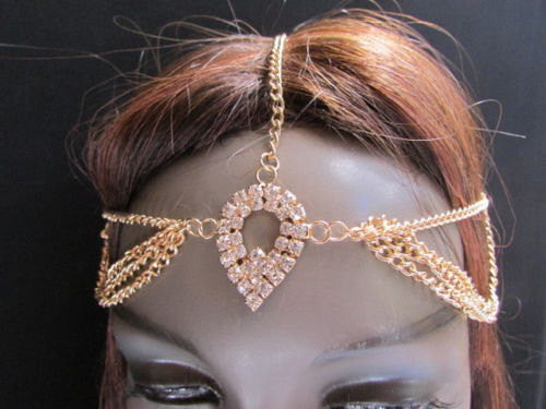 Brand New Rhinestone Gold Women Fashion Metal Multi Drapes Head Band Forehead Jewelry Hair Accessories Wedding Beach Party - alwaystyle4you - 1