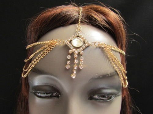 Brand New Rhinestone Gold Women Fashion Triangle Metal Multi Drapes Head Band Forehead Jewelry Hair Accessories Wedding Beach Party - alwaystyle4you - 2
