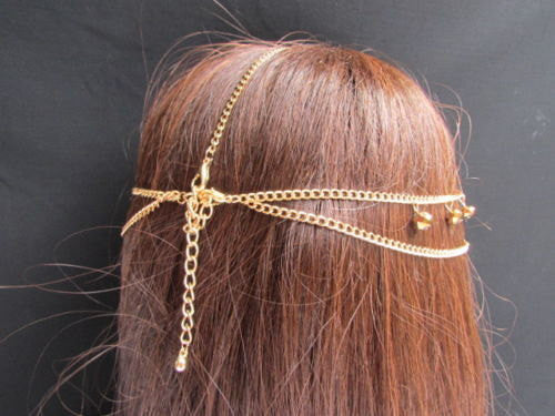 New Women Heart Gold Rhinestonefashion Beads Metal Multi Drapes Head Band Forehead Jewelry Hair Accessories Wedding Beach Party - alwaystyle4you - 2