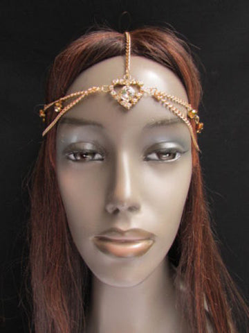 New Women Heart Gold Rhinestonefashion Beads Metal Multi Drapes Head Band Forehead Jewelry Hair Accessories Wedding Beach Party - alwaystyle4you - 4