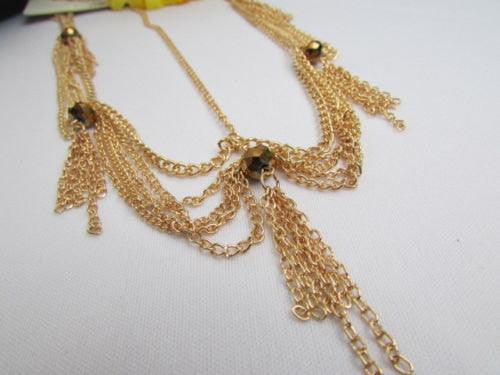Brand New Women Chic Gold Metal Egyption Stylish Long Head Chain Lightweight Beads Fashion Jewelry - alwaystyle4you - 3