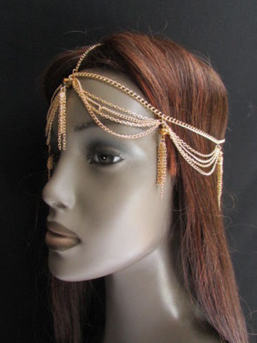 Brand New Women Chic Gold Metal Egyption Stylish Long Head Chain Lightweight Beads Fashion Jewelry - alwaystyle4you - 4