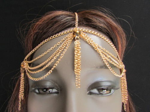 Brand New Women Chic Gold Metal Egyption Stylish Long Head Chain Lightweight Beads Fashion Jewelry - alwaystyle4you - 1