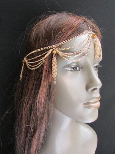 Brand New Women Chic Gold Metal Egyption Stylish Long Head Chain Lightweight Beads Fashion Jewelry - alwaystyle4you - 2