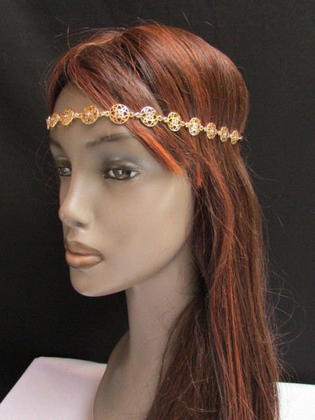 One Size Brand New Women Elastic Head Chain Gold Stars Fashion Hair Piece Jewelry Wedding - alwaystyle4you - 5
