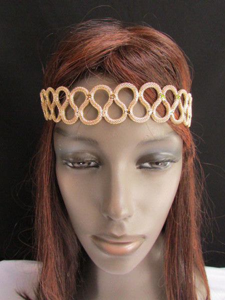 New Rhinestone Gold Women Fashion Metal Head Band Elegant Style Forehead Jewelry Hair Accessories - alwaystyle4you - 1