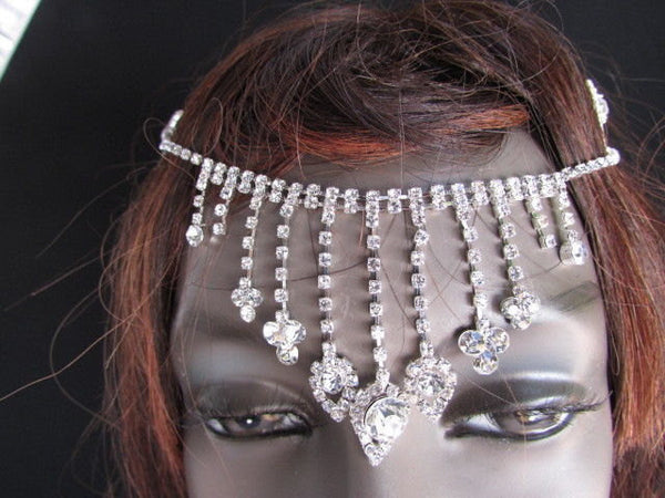 Silver Metal Head Chain Multi Clear Rhinestones Long Drapes New Women Wedding Accessories